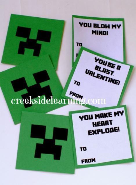 Creeper Minecraft Valentine S Day Card For Boys Minecraft