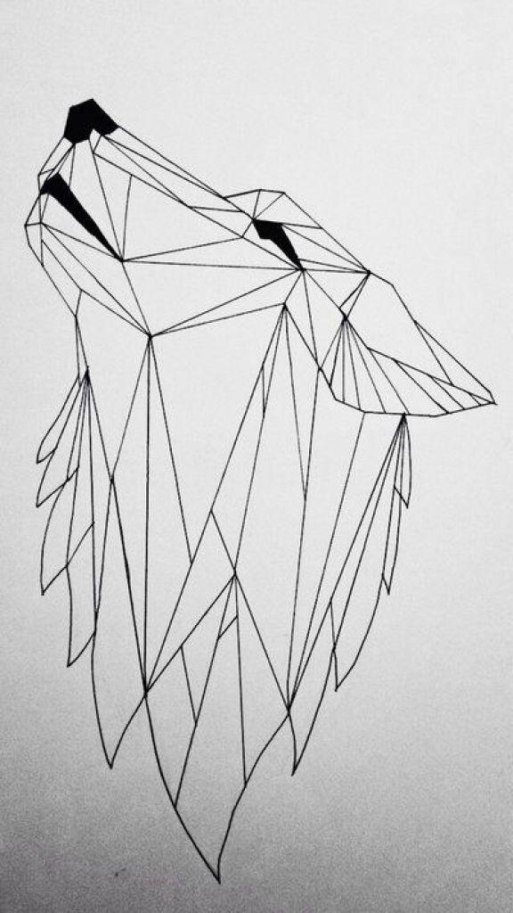 Wolf Tattoo geometrisch im Zusammenhang mit Körpertätowierung – Dreieckskunst (Kubismus) – Tattoo