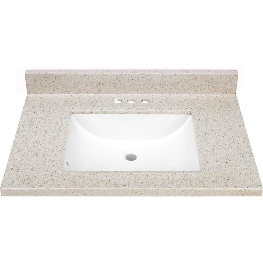 Dune Solid Surface Integral Bathroom Vanity Top (Common: 31-in X 22-