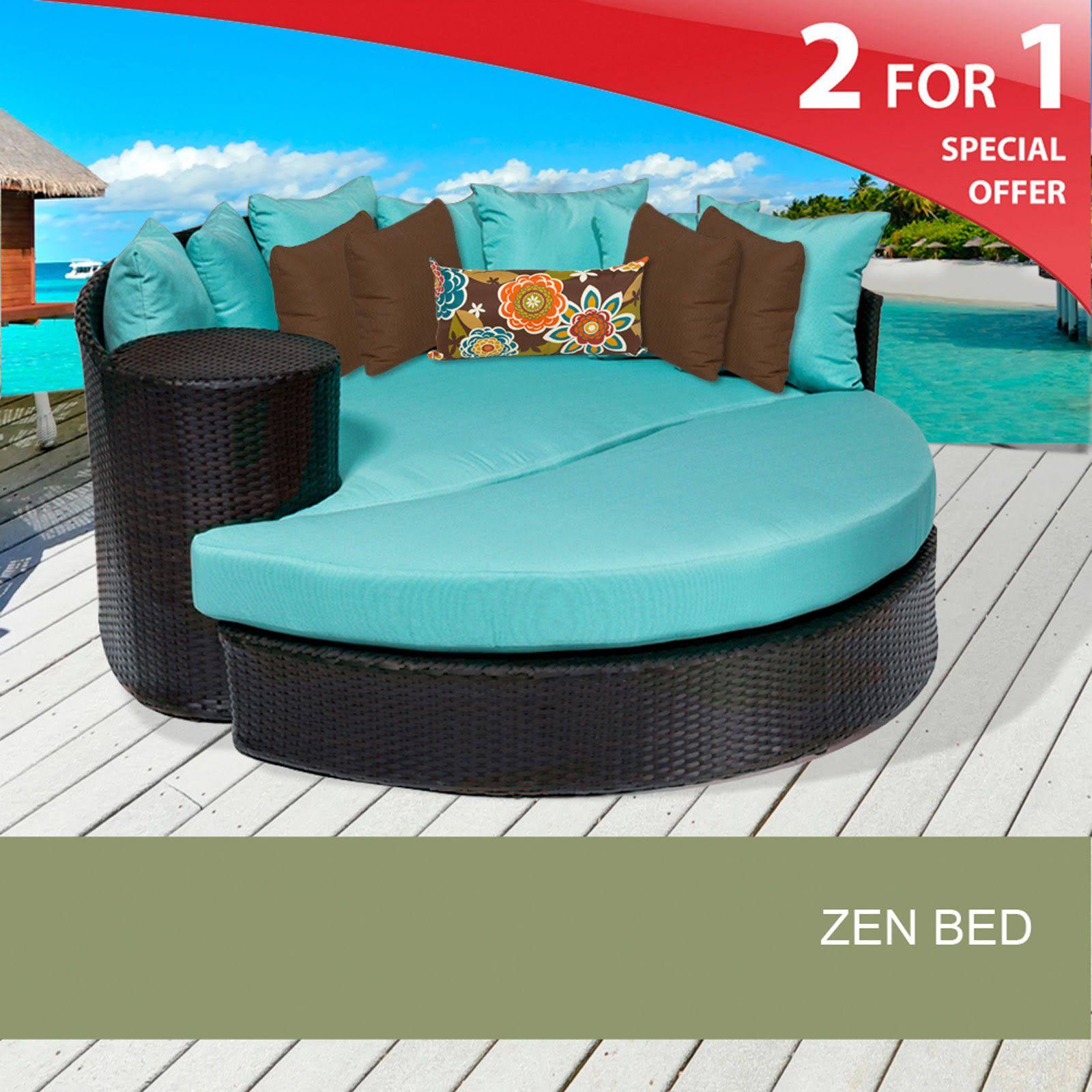 TKC Zen Circular Sun Bed Outdoor Wicker Patio Furniture Wheat