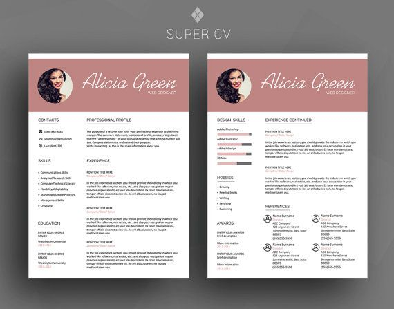 Modern Resume Templates Word New Professional Resume Template  Cv Template  Cover Letter