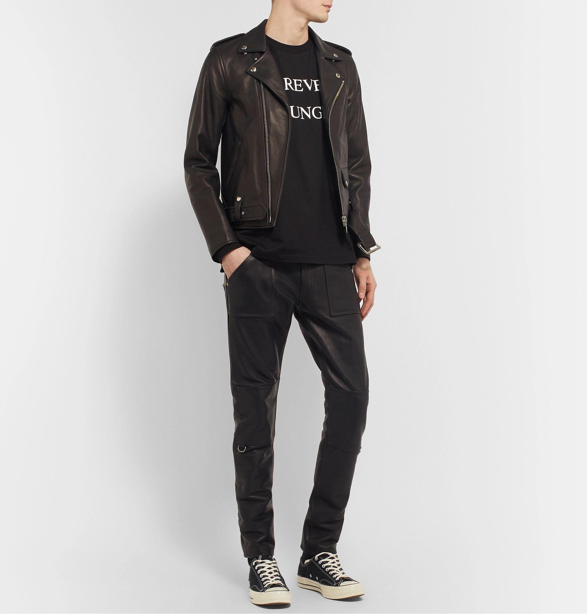 Blackmeans Black Slim Fit Leather Biker Jacket Jackets Leather Biker Jacket Leather Jacket [ 2089 x 2000 Pixel ]
