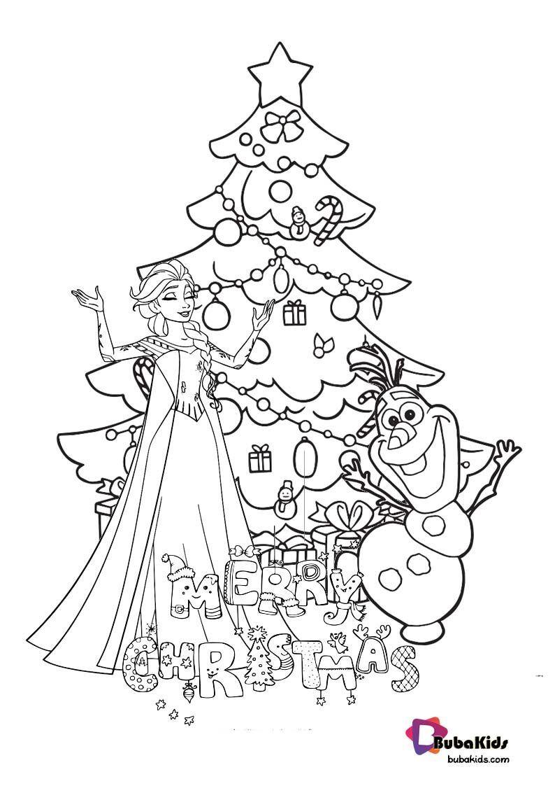 Princess Elsa And Olaf Merry Christmas Coloring Page Merry Christmas Coloring Pages Cartoon Coloring Pages Coloring Pages