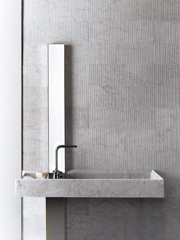 Bianco Carrara Marble Raw Stone Source Potential For Accent Wall In Powder Room Architecture Bathroom Bathroom Decor Minimal Bathroom
