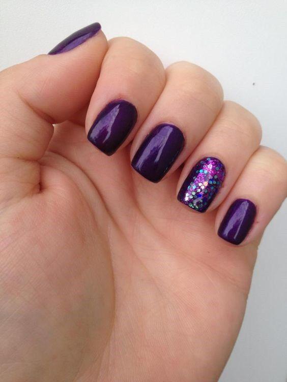 Purple Gel Nails Designs : purple, nails, designs, Nails, Ideas, Purple, Nails,, Designs,, Wedding, Glitter