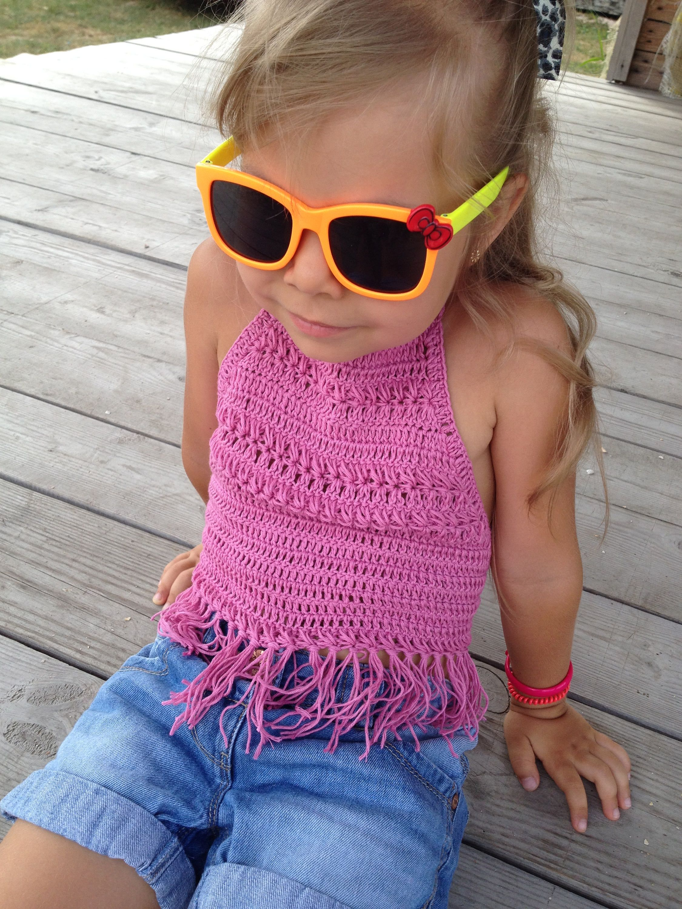 Colorful outfit for kids Crochet high neck toddler baby