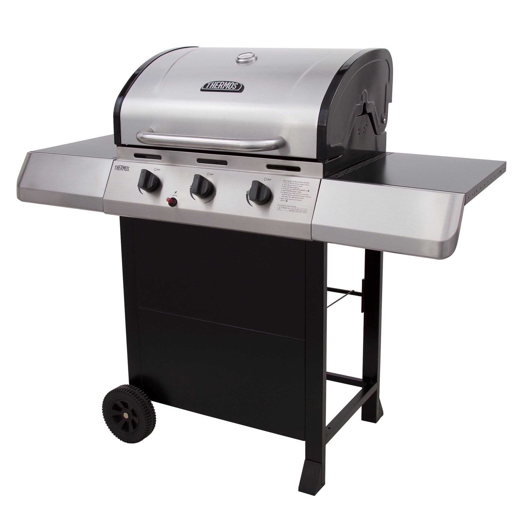 3 burner propane gas grill with side shelves propane gas grill