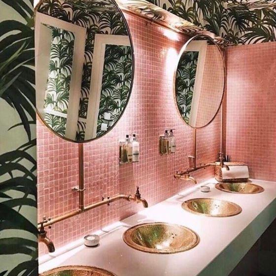 Pink And Gold Glam Bathroom Interior Design Inspiration Tropical Bathroom Retro Home Decor Restaurant Interior