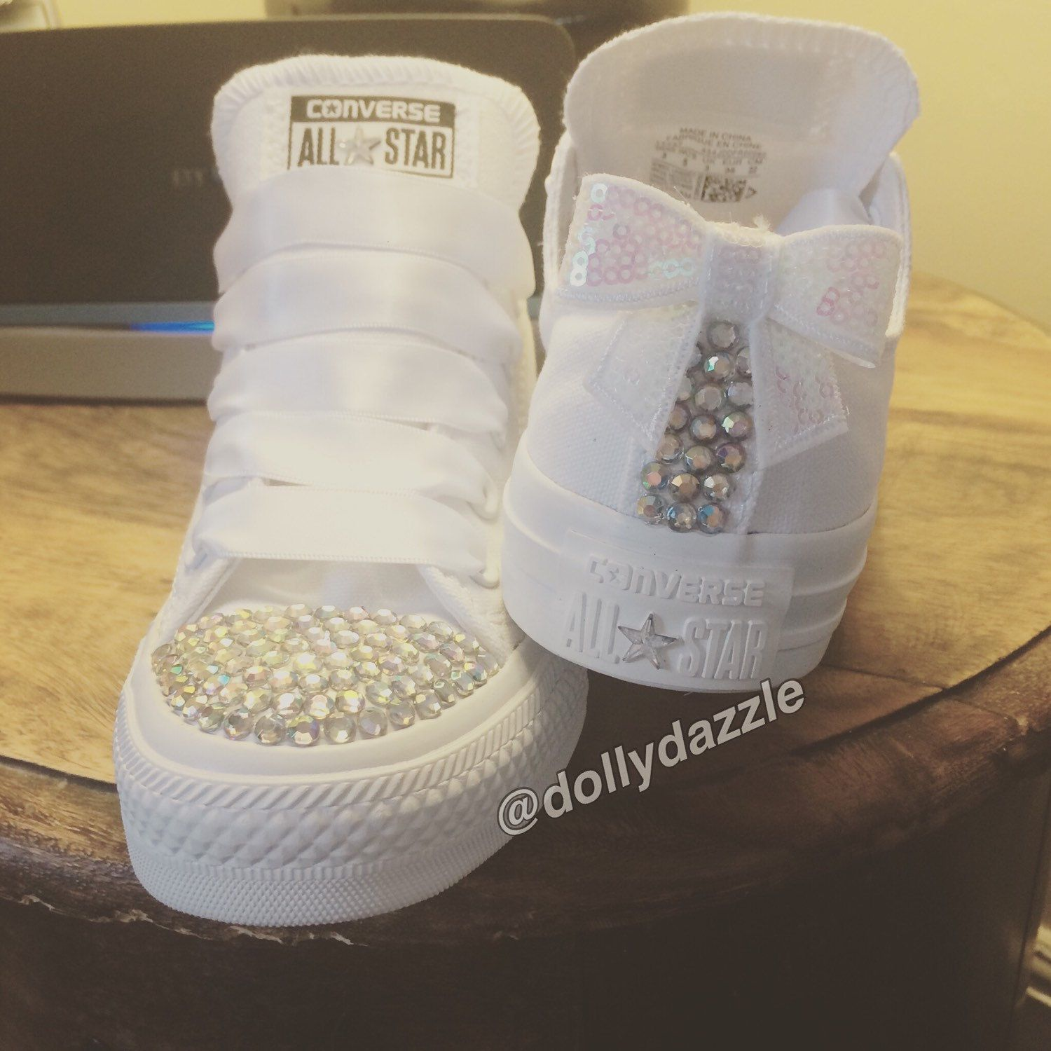 a72e005fc8e7 Bridal Prom Customised Converse Trainers All Stars Bling Shoes ...