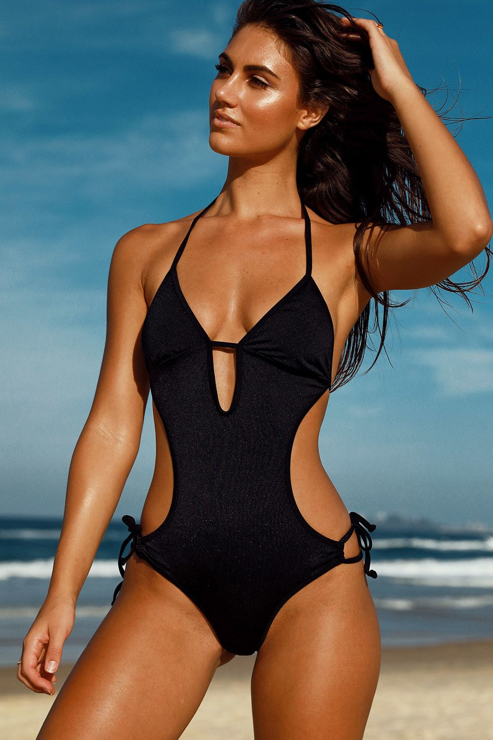 cdc168b233 One Piece Halter Side Cut Out Black Scrunch Bun® Monokini