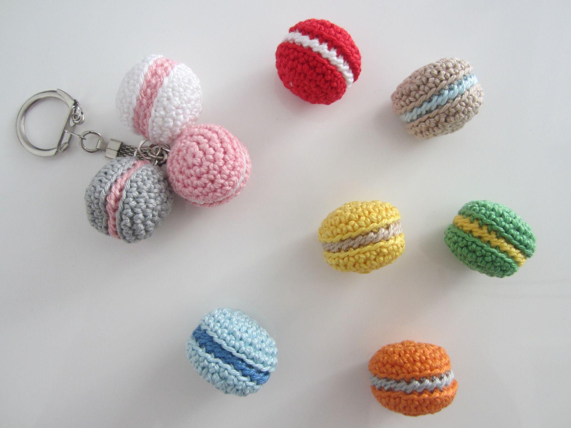 Porte cl s macarons porte cl s macarons porte cl s crochet macaron amigurimi petit cadeau - Porte cle crochet ...