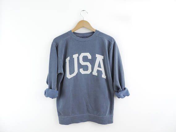 New Big Usa Retro Comfort Colors Crewneck Sweatshirt Pullover