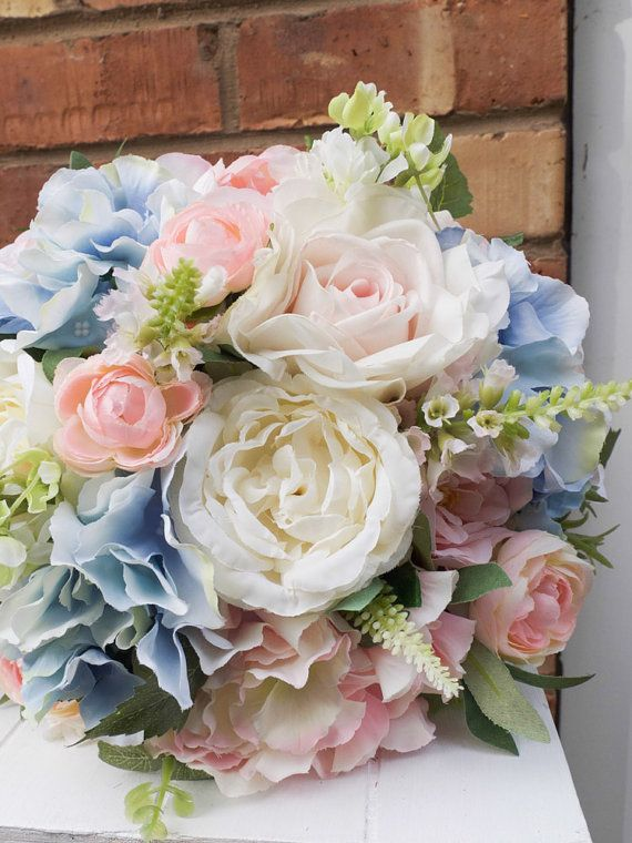 Pink and blue silk wedding bouquet am ricks wedding pinterest pastel wedding bouquet in pale blue blush pink and ivory made with artificial roses peonies stocks and hydrangea mightylinksfo