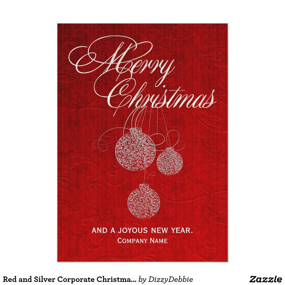 Red and Silver Corporate Christmas Greeting Card #zazzle | Corporate ...