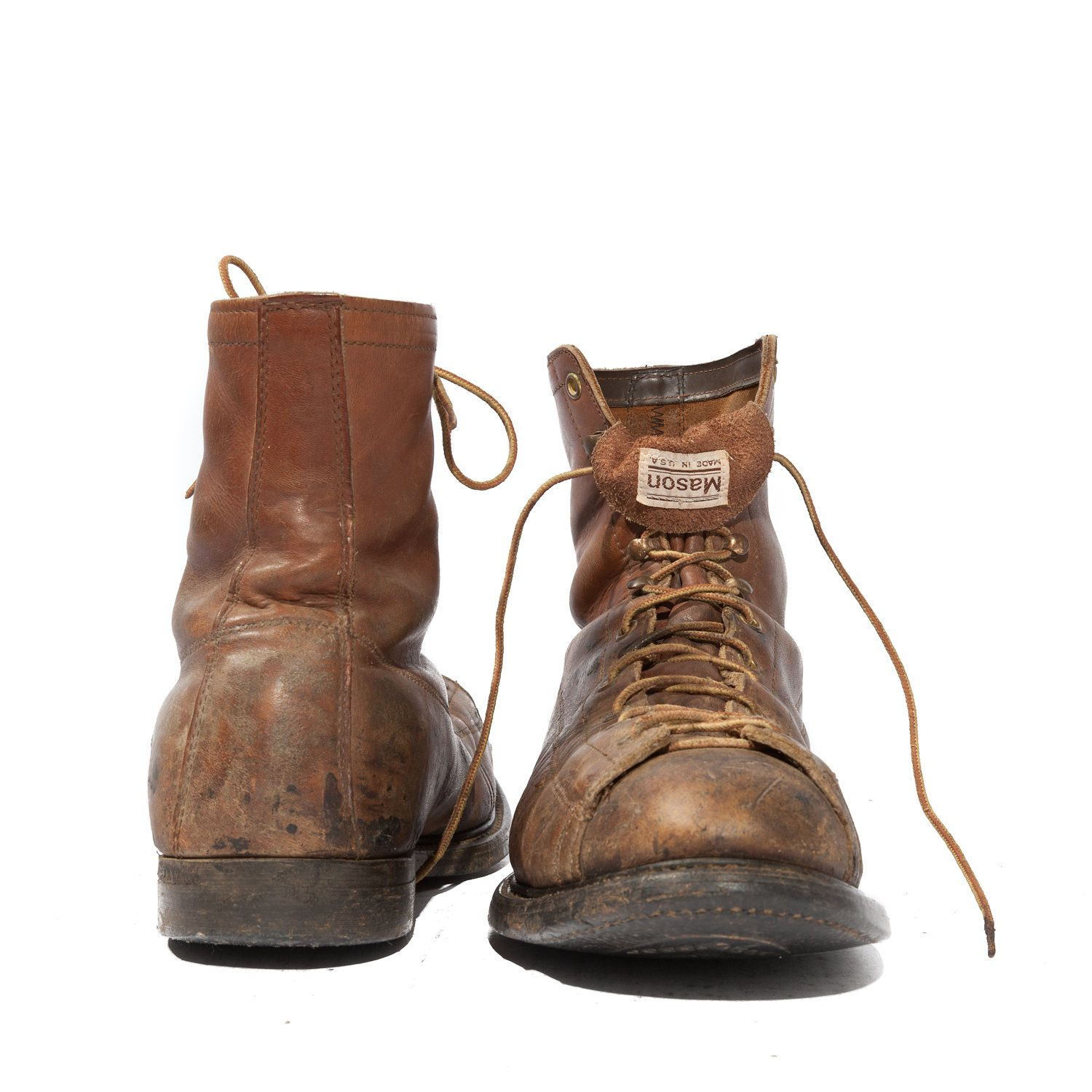 Vintage Mason Miner Boots Distressed Lace Up Steel Toe Work Gear for Men's  Size 9 EE