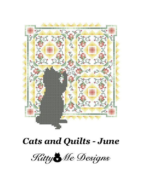 Cross Stitch Pattern PDF  Cats and Quilts June  by arcadecache, $8.95