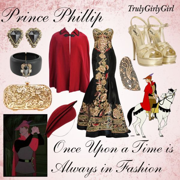 Disney Style: Prince Phillip by trulygirlygirl on Polyvore featuring Alexis Bittar, Yves Saint Laurent, Ileana Makri, Whiteley, Naeem Khan, Disney, disney, prince, phillip and sleeping beauty