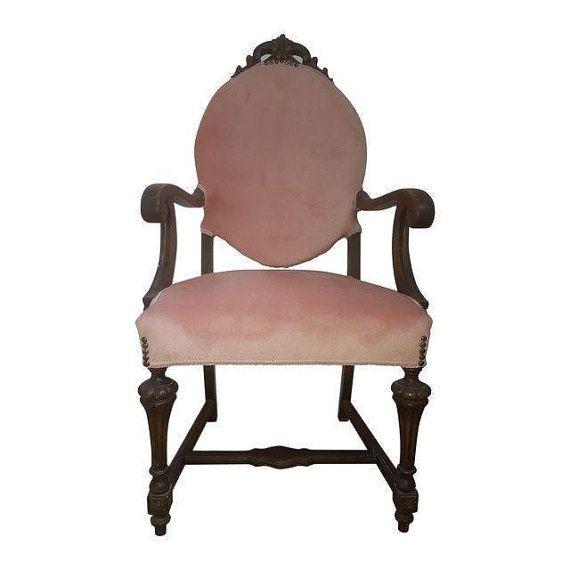 Antique Victorian Pink Velvet Arm Chair By Paintfabriccrafts Wohnzimmer Stuhle Stuhle Rosa Wohnzimmer