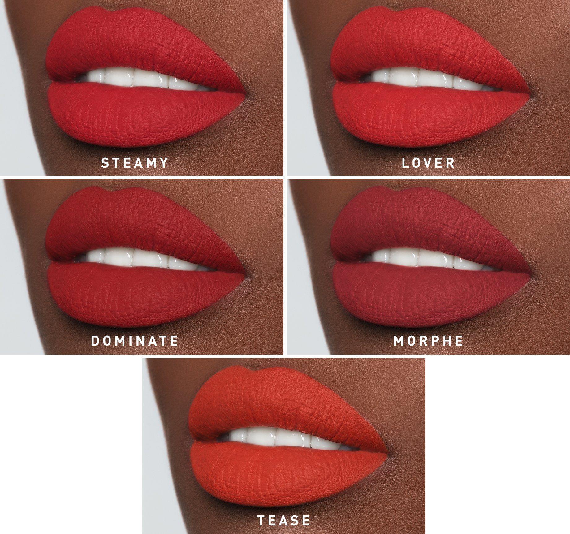 Morphe The Mega Matte 5 Lip Tips Lipstick Swatches Red Lipsticks