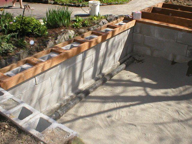 Concrete Koi Pond Cinder Block Frame Diy Ponds Backyard Pond Water Features Concrete Backyard