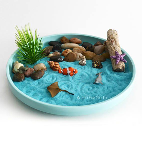 Mini Zen Garden Ocean Sand Garden Desk Accessory Diy Kit Driftwood Beach Tabletop Decor Sand Art Meditation Fidget Toy Mini Zen Garden Zen Garden Diy Miniature Zen Garden