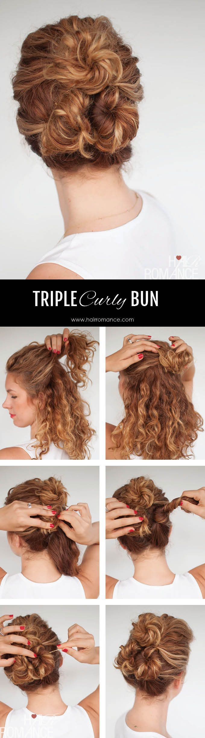 Hair Romance Easy Everyday Curly Hairstyle Tutorials The Curly Triple Bun Hair Styles Hair Romance Curly Hair Styles