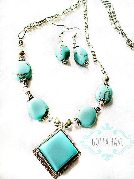 Turquoise+an+silver+set+by+GottaHaveGifts+on+Etsy,+$19.99