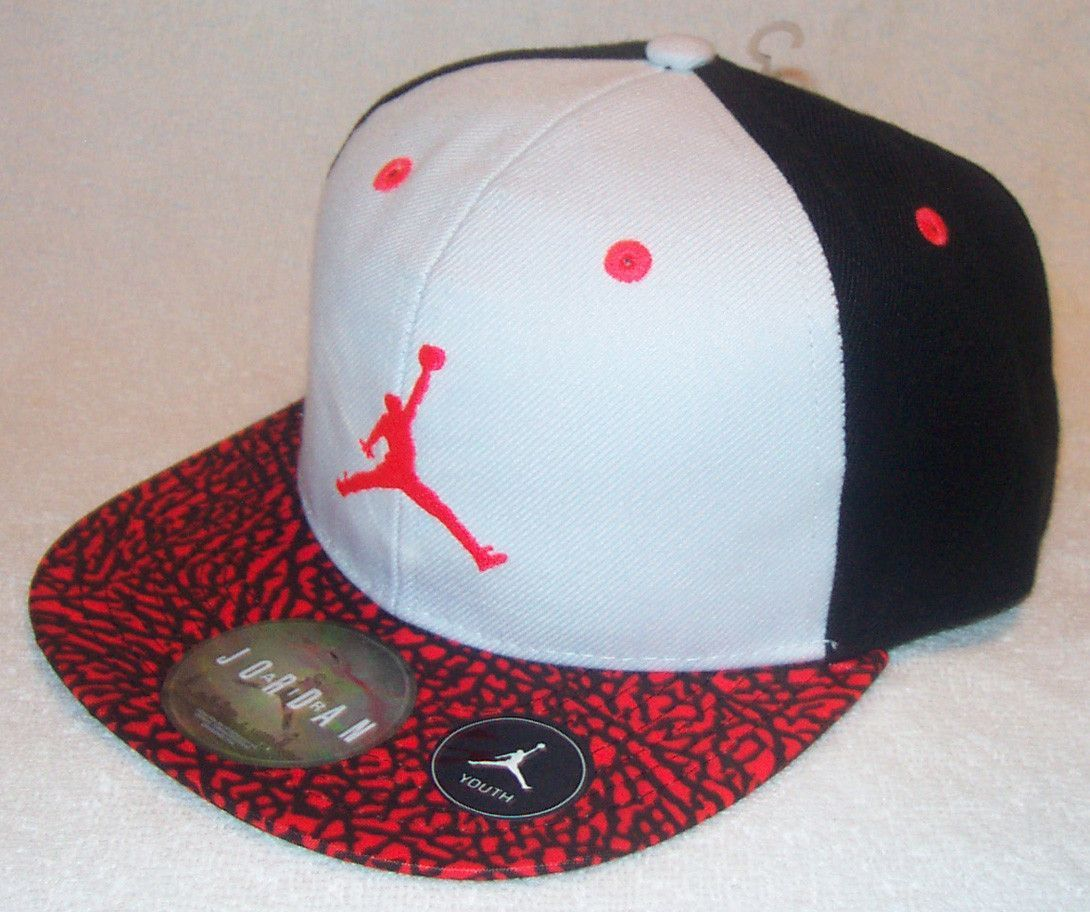 super cute c045d bf664 NIKE Air Jordan True Jumpman Youth Black White Red Volt Snapback Hat