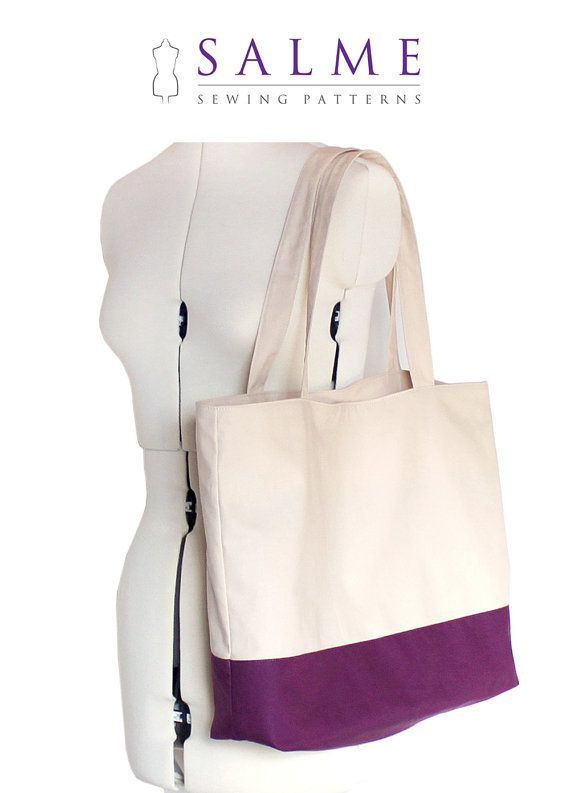 PDF Sewing pattern Color block tote bag by Salmepatterns on Etsy ...