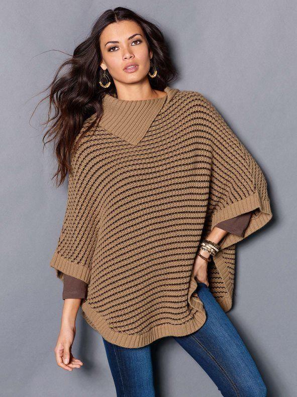 Capa poncho mujer tricot. Abrígate con los cálidos tonos tierra con esta elegante  capa que te envolverá de estilo esta temporada. Una prenda muy versátil 96e1781c95e1