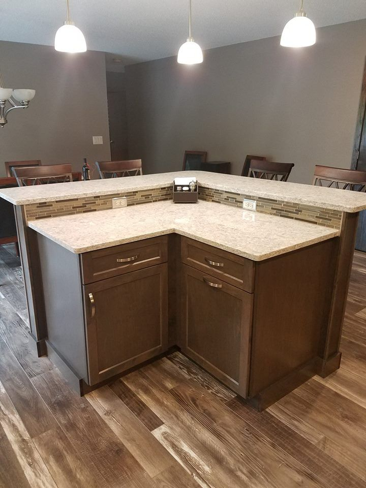 Maple Cabinets In A Driftwood Stain With Everest Quartz Countertops A Rust Chocolate Tile B Kitchen Cabinets In Bathroom Maple Cabinets Driftwood Stain