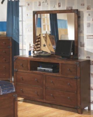 Delburne Dresser And Mirror Medium Brown Wood Dresser Furniture Kids Dressers