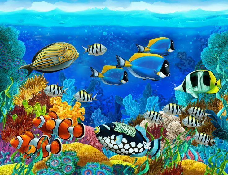 Sea Seabed Fish Corals Underwater Ocean Tropical G Wallpaper Background Underwater Wallpaper Fish Painting Underwater Painting