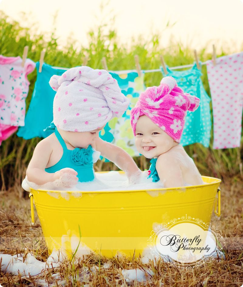 Bathtub Pics, ADORABLE For Sisters! And I Love The Clothesline In The  Background!