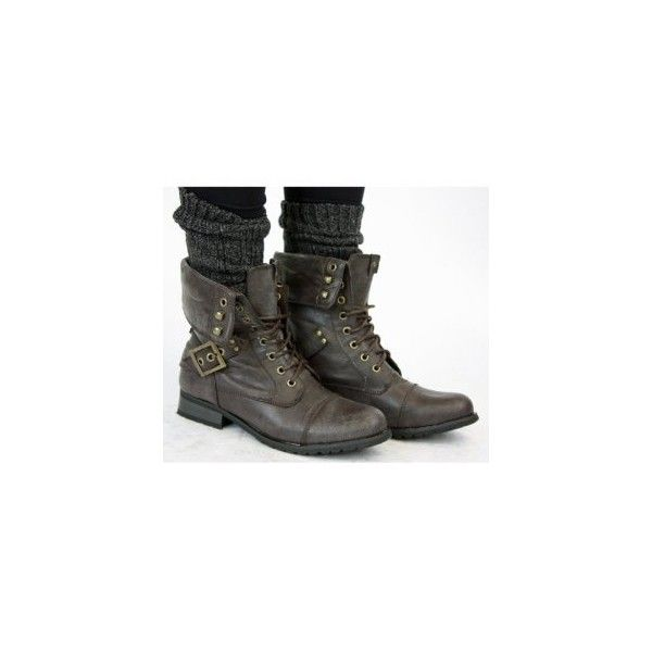 Ladies Brown Military Style combat Army Lace up Ankle