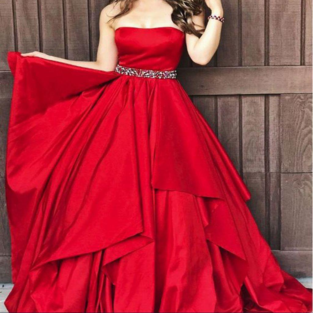 aline strapless satin beading red layered long elegant prom