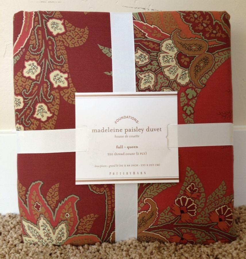 Best Pottery Barn Madeline Paisley Red Full Queen Duvet Sham 400 x 300