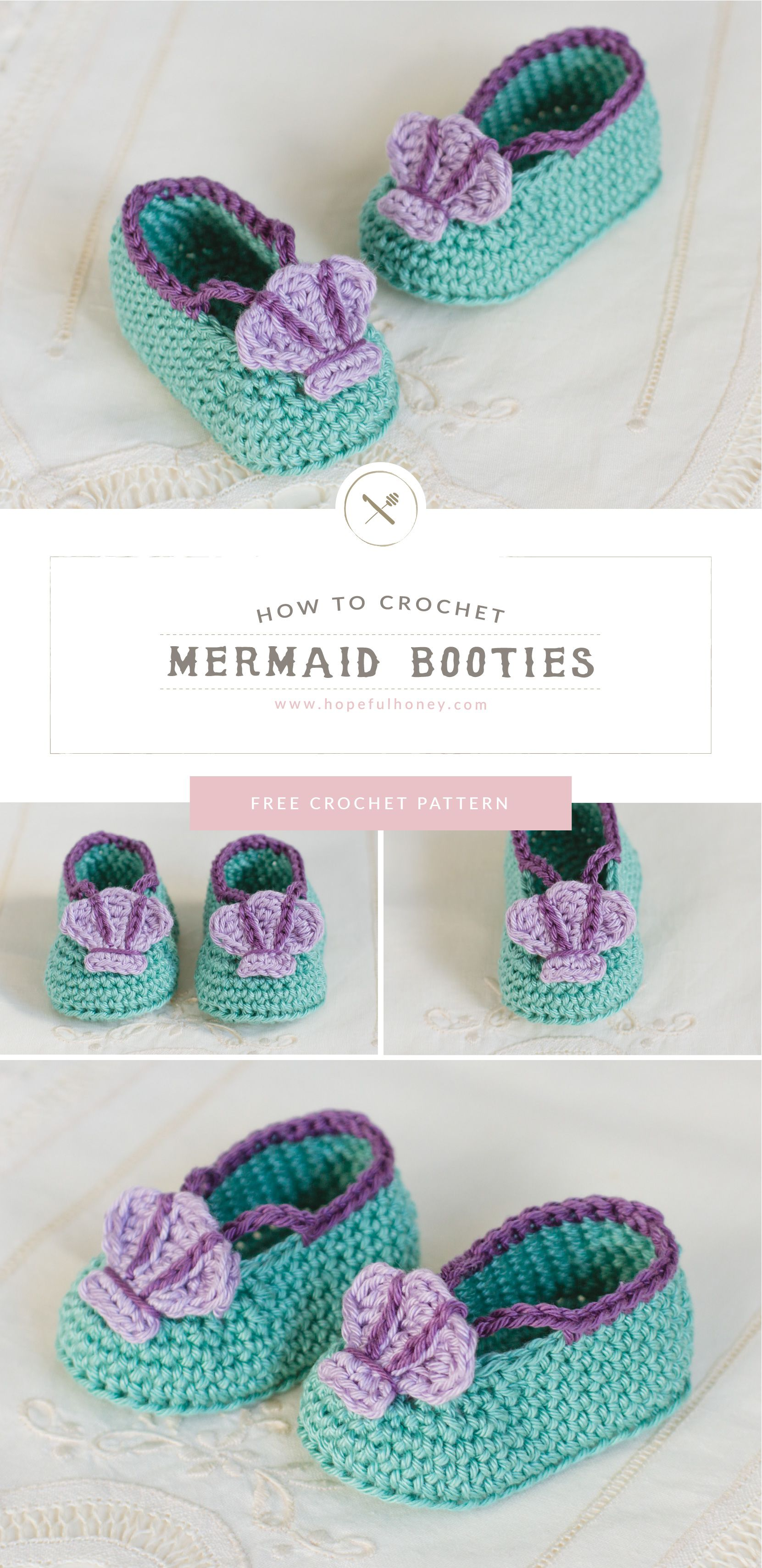 Mermaid Baby Booties Crochet Pattern | Hooked | Pinterest ...