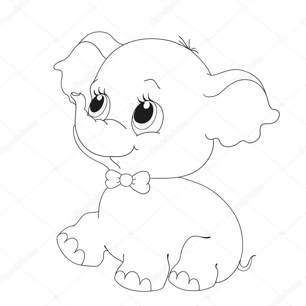 Dibujo De Elefante Lindo Con Globos Para Colorear Buscar Con