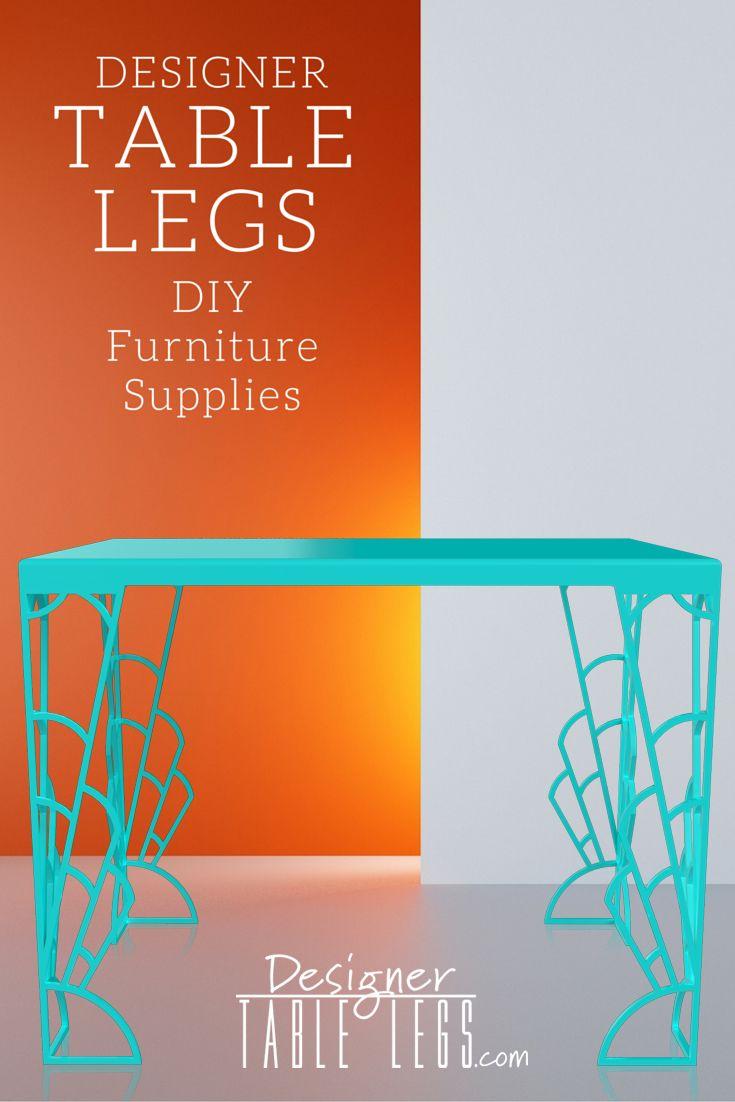 DesignerTableLegs.com Gadsby Art Deco Table Legs Teal   Metal Table Legs