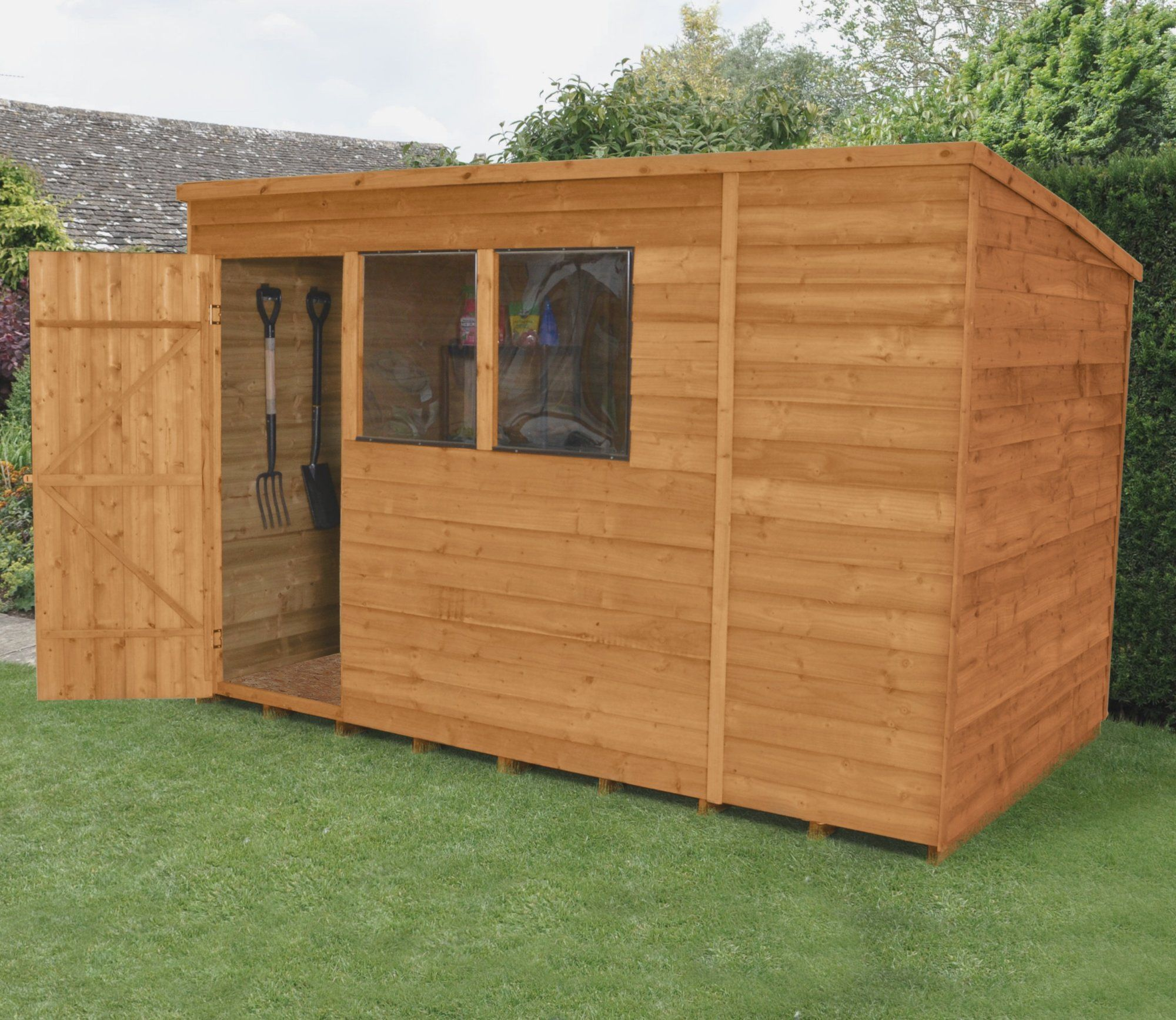 Forest 10 X 6 Ft Overlap Dip Treated Pent Shed Wooden Sheds Building A Shed Cheap Garden Sheds