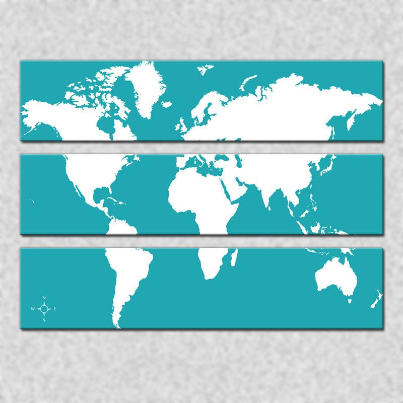 World map triptych canvas giclee teal and white 20000 via etsy world map triptych canvas giclee teal and white 20000 via etsy gumiabroncs Gallery