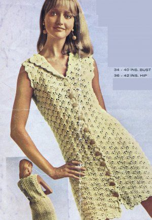 Vknc45 Ladies Retro Mod Crochet Dress Pattern Pdf Download