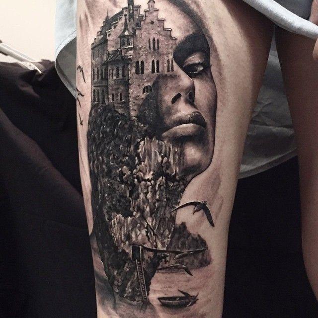 Two Moon Dark Castle Tattoo on Thigh   Tattoo Ideas ...