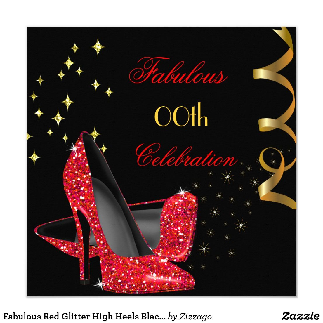 high heel template for cards - fabulous red glitter high heels black birthday invitation