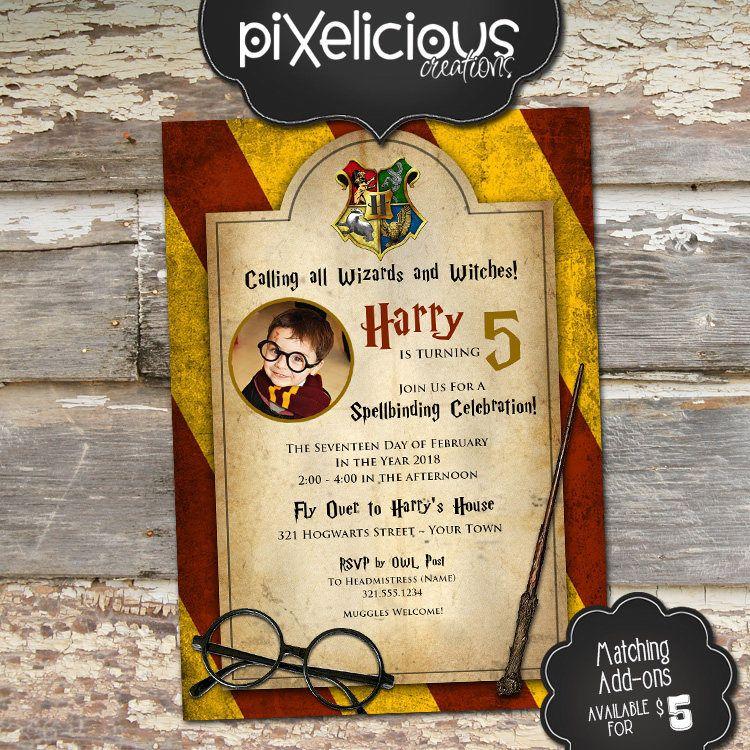 Harry potter custom printable birthday invitation