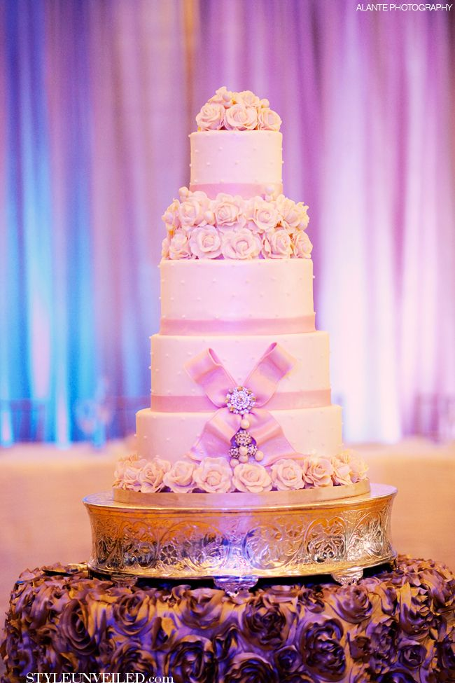 White Wedding Cake with Pink Bow by Celebrity Cakes / Alante Photography