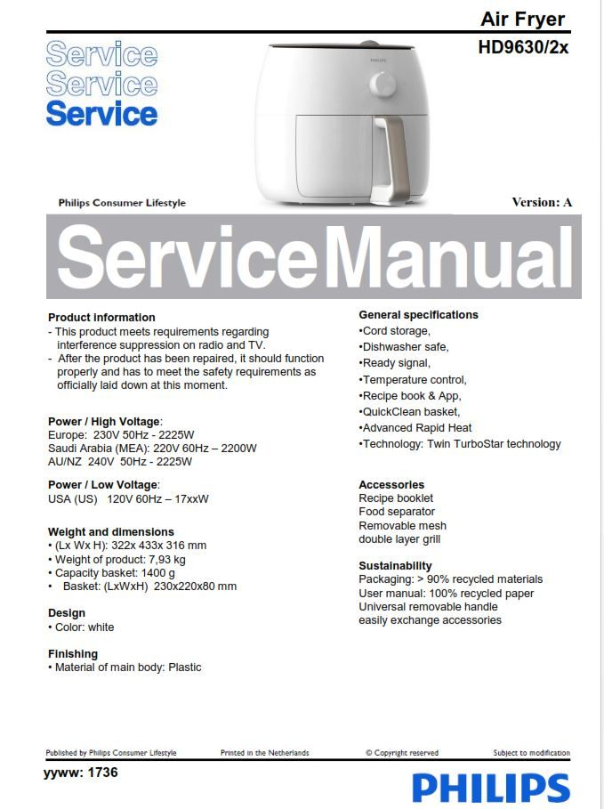 Philips Airfryer Hd9630  2x Series  Service Manual Free