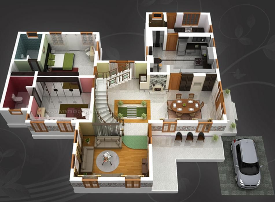 House idea 2 bed 2 bath home plans for dream home pinterest bath house and 3d house plans - Dream home floor plan model ...