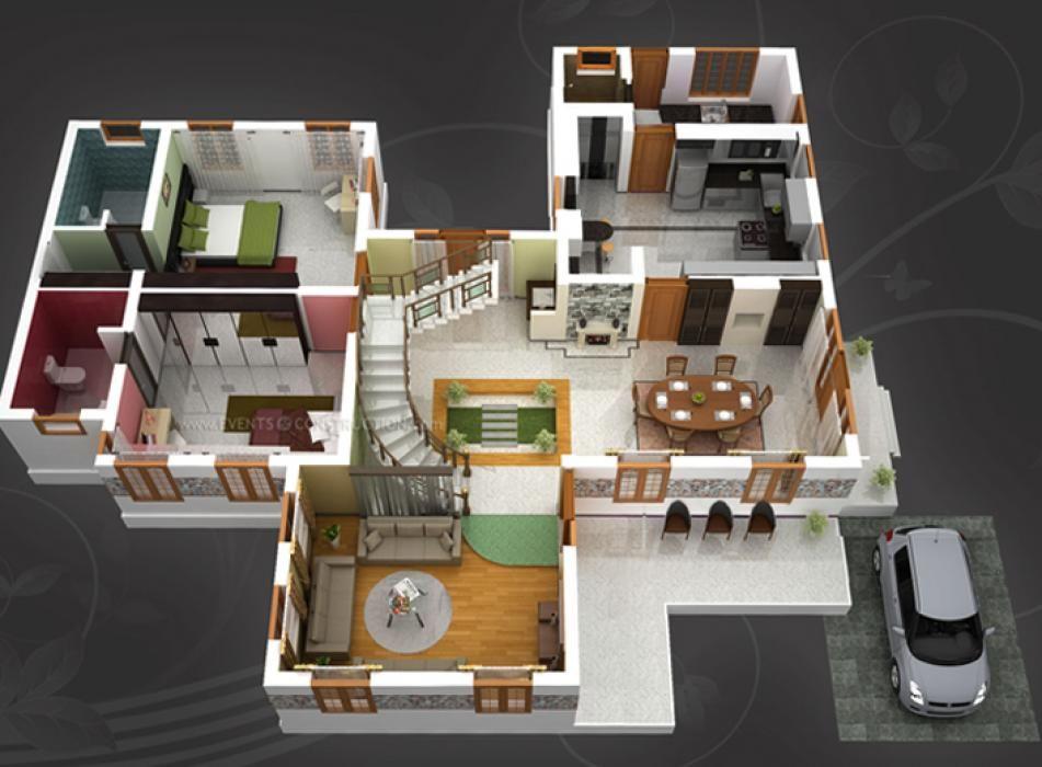 House Idea 2 bed 2 bath Duplex house plans, House